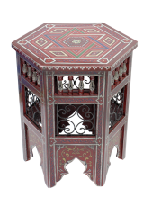 Moroccan Table Zouak Wrought Iron Hand painted in Burgundy Red Hexagonal 50cm/20'' (ZT320)